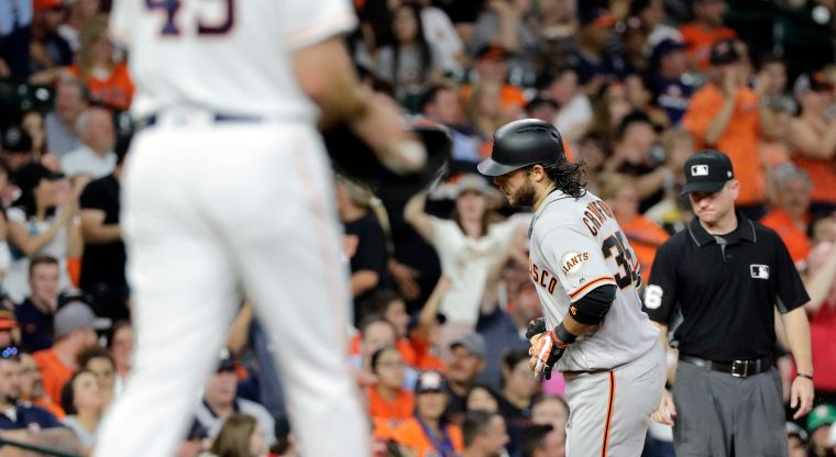Brandon Crawford,Gerrit Cole - San Francisco Giants' Brandon Crawford (35) runs the bases after hitting a two-run home run off Houston Astros starting pitcher Gerrit Cole (45) during the fifth inning of a baseball game Tuesday, May 22, 2018, in Houston. (AP Photo/David J. Phillip) Giants Astros Baseball